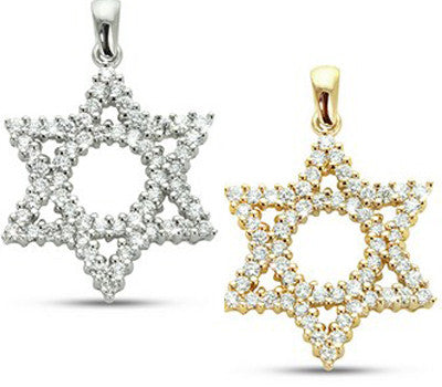 Star Of David with Open Center Circle Prong Set Diamond Necklace