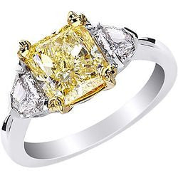 2.51 ct. Fancy Yellow Radiant Diamond Ring with Symmetrical Accents in Platinum & 22k Yellow Gold - 0.55 ctw.