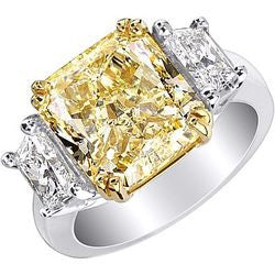 7.57 ct. Fancy Yellow Radiant Trapezoid Diamond Ring in Platinum & 22K Yellow Gold - 1.08 ctw.