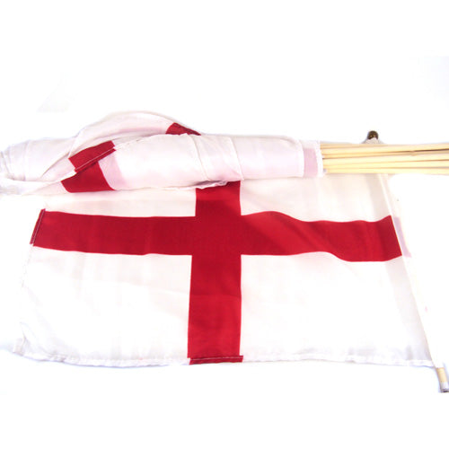 St George Flag With Wood Pole 12 x 18 Inch