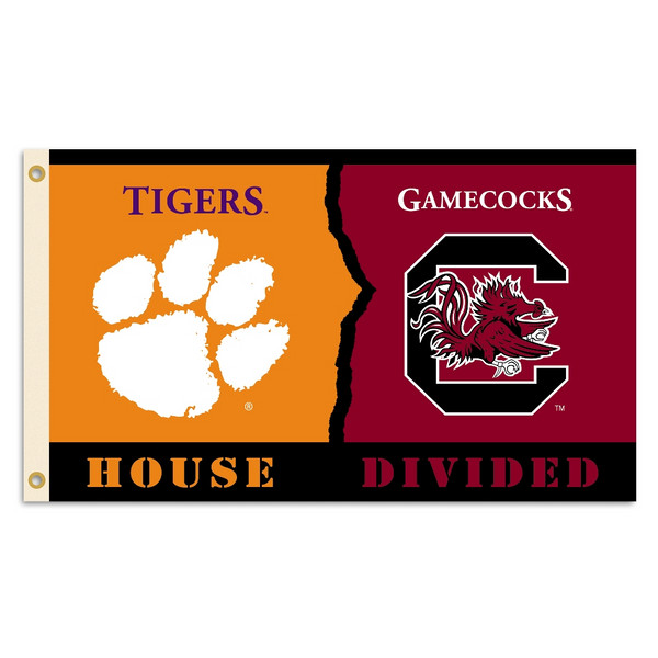 NCAA Clemson - S. Carolina 3 Ft. X 5 Ft. Flag W/Grommets - Rivalry House Divided