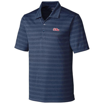 NCAA Ole Miss Cutter and Buck Interbay Melange Stripe Polo