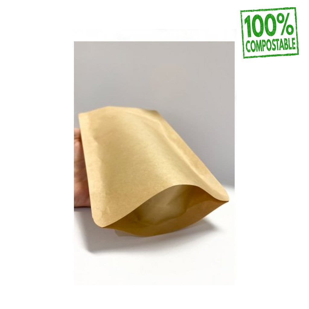 Doypacks Couleur Kraft Bio Premium L (250 g environ) Dimension 160 x 270 x 80 mm
