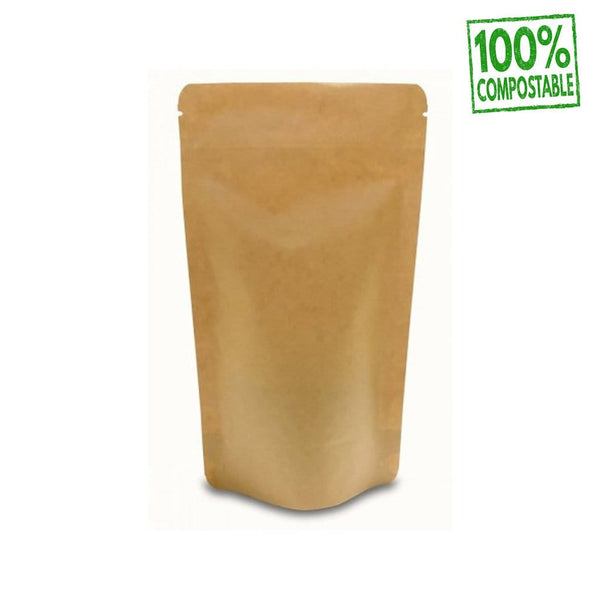 Doypacks Couleur Kraft Bio Premium M (100 g environ) Dimension 130 x 225 x 70 mm