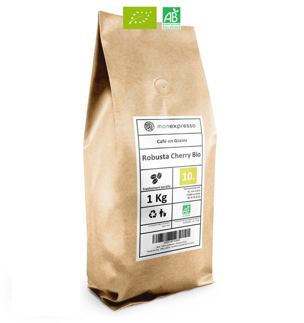 Café en grains Robusta Inde Cherry AB Biologique