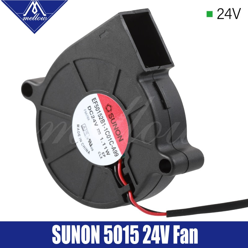 Mellow Exclusive Sunon 3D Printer Blower Fan 5015 24V 0.41A Double Bearing Fan Centrifugal DC Cooling Turbo Fan 5015S