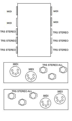 2 MIDI Through 3 TRS Stereo Pedal Board Box Patch Bay