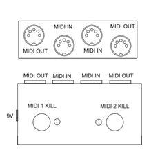 2CH MIDI On or Off Switcher (Kill or Activate MIDI Signal with One Stomp)