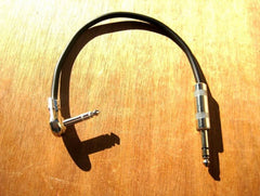 "TRS (Stereo) 12"" Right Angle Pancake Cable on One End and Straight Plug on The Other End"