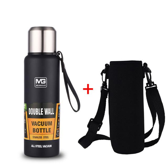 Bouteille Isotherme <br> Inox Noire 750ml + Sangle