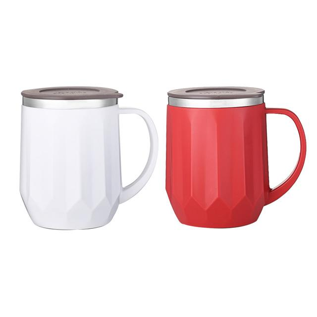 Mug Café <br> Lot de 2 Inoxydable Blanc&Rouge