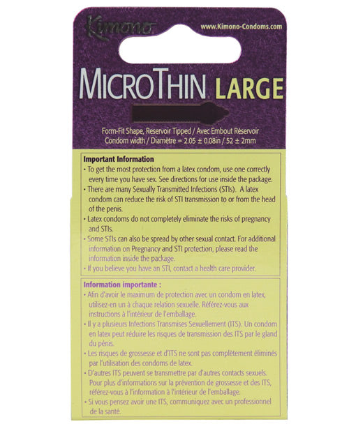 Kimono Micro Thin Large Condom - Box Of 3