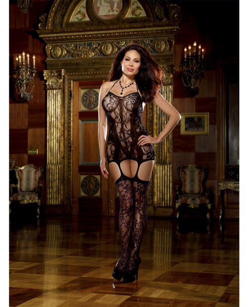 Lace Fishnet Halter Garter Dress W-opaque Bodice Lines, Adj Halter Ties & Attched Stockings Blk Qn