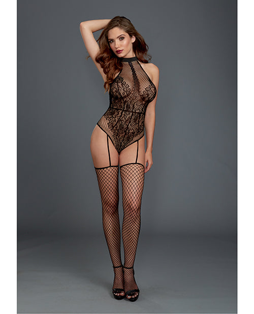 Fishnet & Lace Halter Neckline Teddy W-attached Garters & Thigh High Black O-s