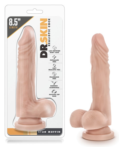 "Blush Dr. Skin Stud Muffin 8.5"" Dong W-suction Cup - Beige"
