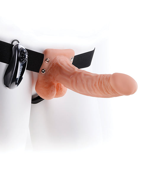 "Fetish Fantasy Series 7"" Vibrating Hollow Strap On W-balls - Flesh"