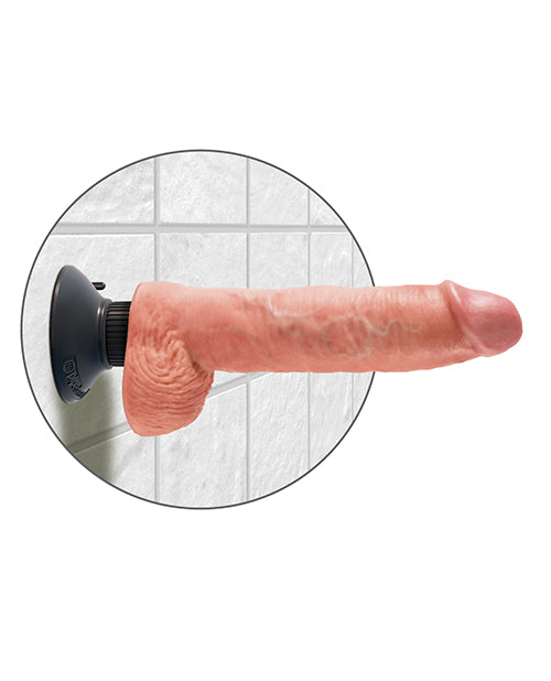 "King Cock 10"" Vibrating Cock W-balls - Flesh"
