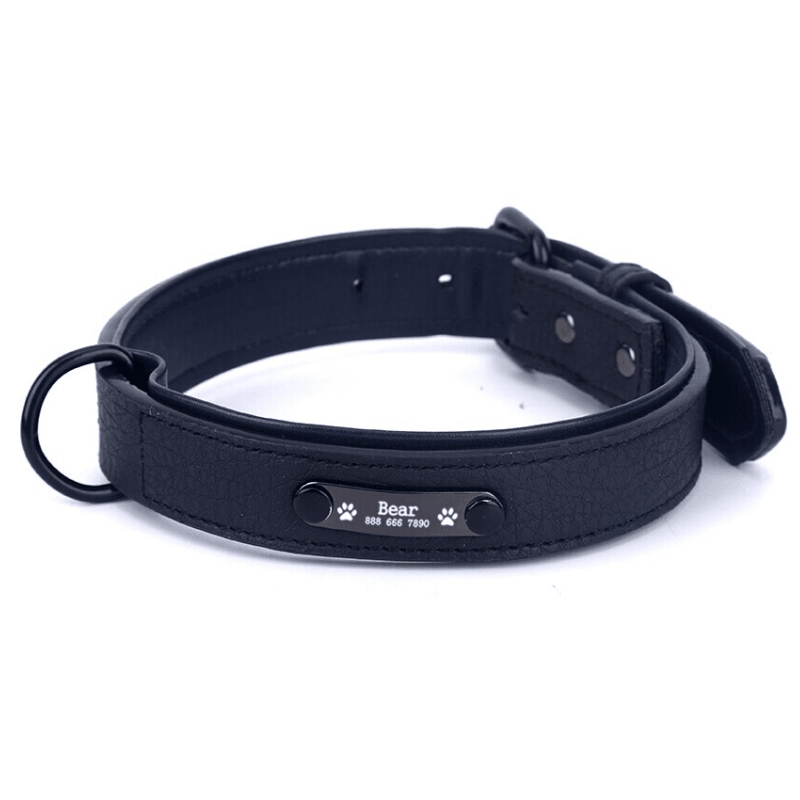 Leather Personalized All Purpose™ Dog Collar (2020)-Paw Roll,S / Black