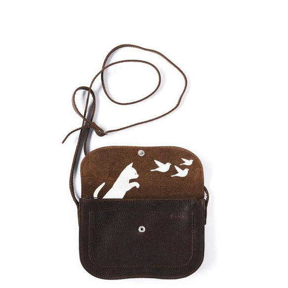 Tasche, Cat Chase, Dark Brown used look