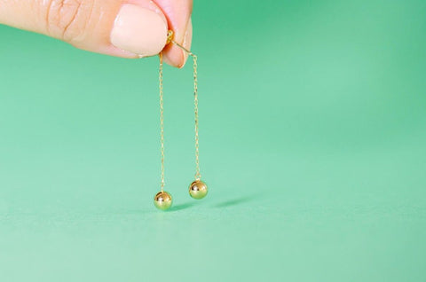 18K ball chain stud earrings