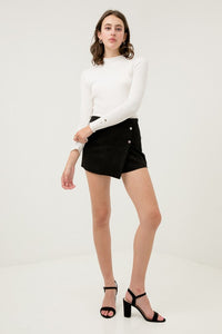 Suede Skort with Buttons