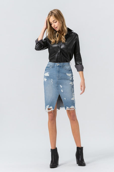Distressed Pencil Skirt