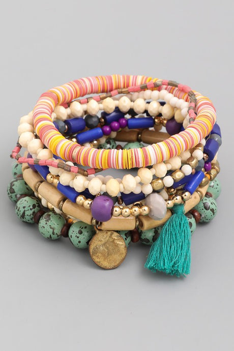 Multi Bead Tassel Bracelet Set