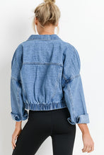 Load image into Gallery viewer, Cute Cropped Denim Jacket- Medium Wash