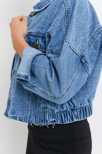 Cute Cropped Denim Jacket- Medium Wash