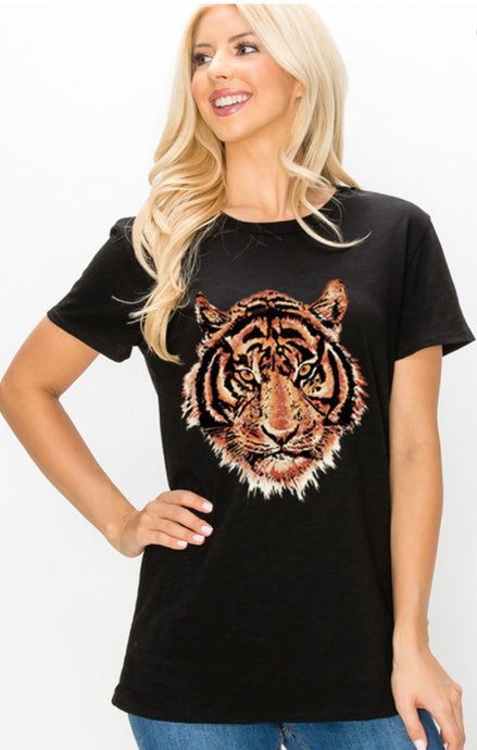 Black Vintage Animal Graphic Tee
