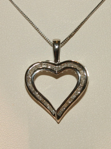 white gold and diamond heart pendant