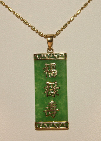 green jade Chinese good luck pendant