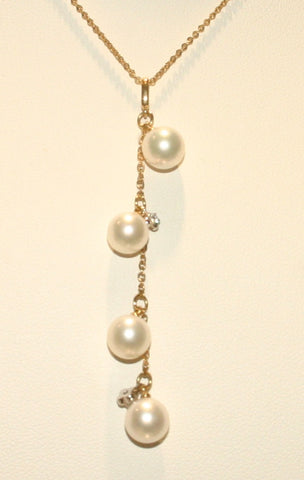 gold and white pearl pendant necklace