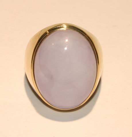 Oval lavender jade ring