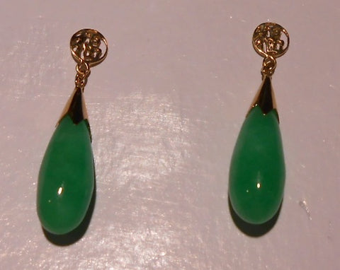 green jade raindrop earrings and pendant