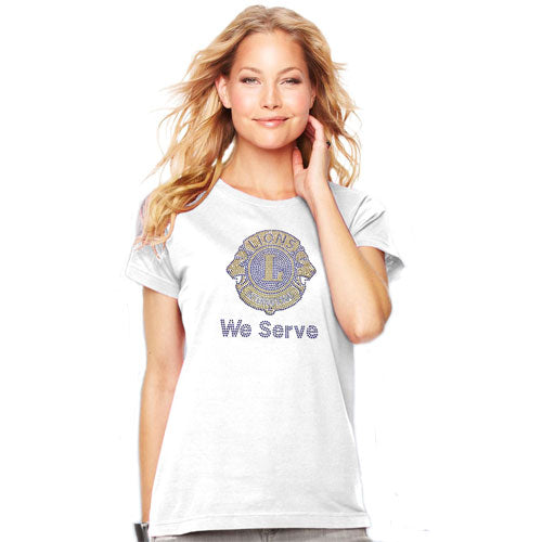 WE SERVE SHORT SLEEVE TEE - WHITE WITH 2-COLOR BLING