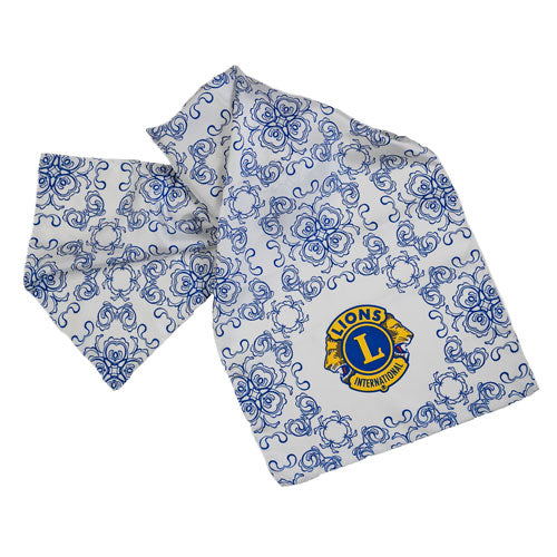 BLUE WHITE LONG SILK SCARF