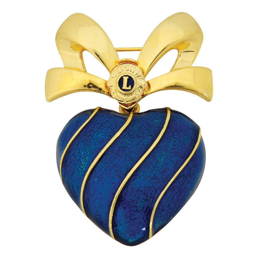 BLUE HEART BOW PIN+