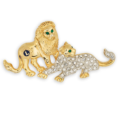 LION AND LIONESS CRYSTAL PIN