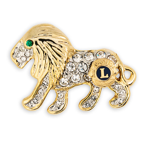 LION CRYSTAL LAPEL TACK