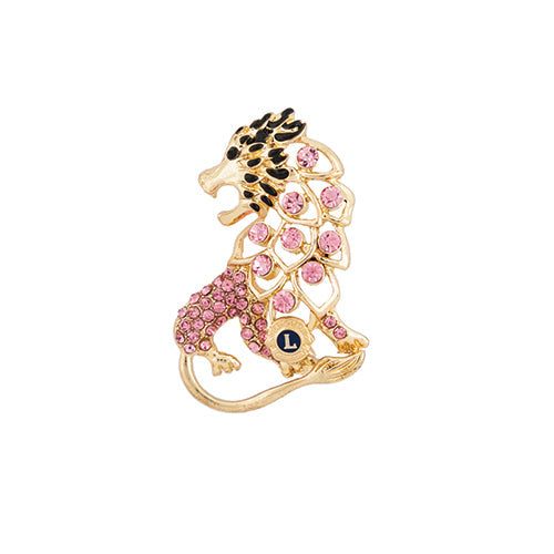 GOLDTONE PNK CRYSTAL LION PIN