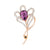 CRYSTAL PURPLE FLOWER PIN