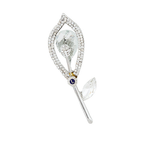 CRYSTAL SILVER FLOWER PIN