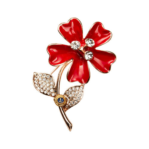 RED FLOWER PIN
