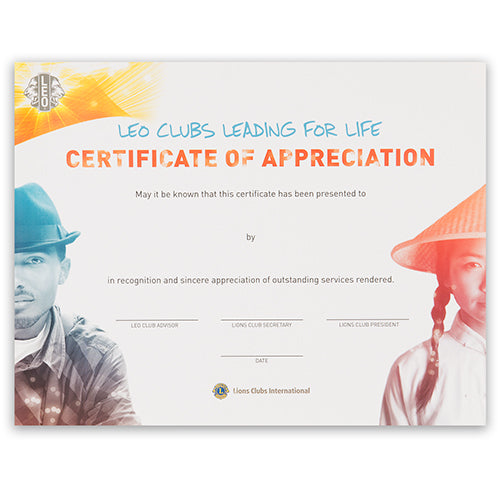LEO CERTIFICATE APPRECIATION - PERSONALIZED