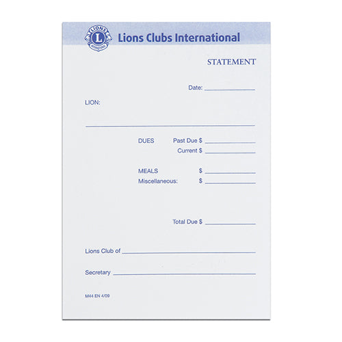 LIONS CLUB STATEMENTS