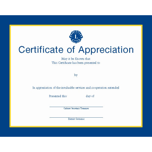 DISTRICT GOVERNORS APPRECIATION CERTIFICATE