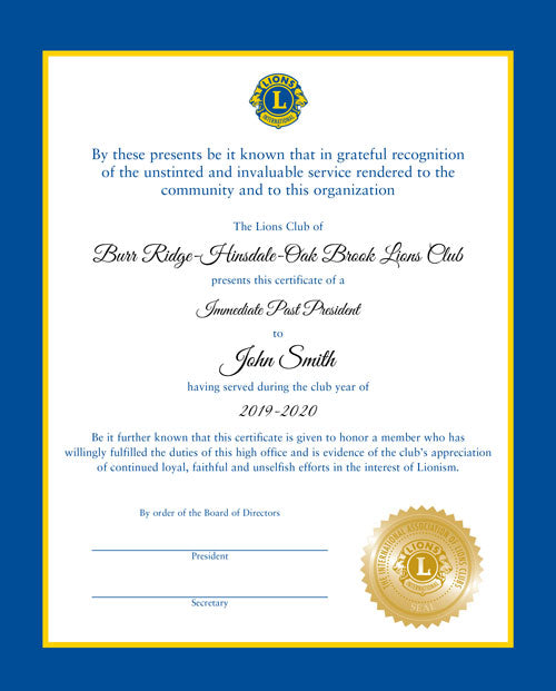 OFFICER CERTIFICATE - PERSONALIZED