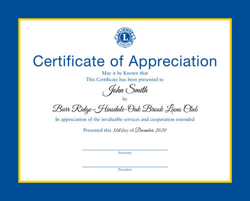 CERTIFICATE OF APPRECIATION - PERSONALIZED