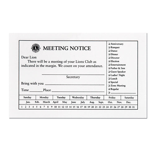 MEETING NOTICE CARDS 250/PACK